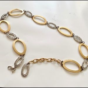 Brighton Gold and Silver Metal Belt - Size Small